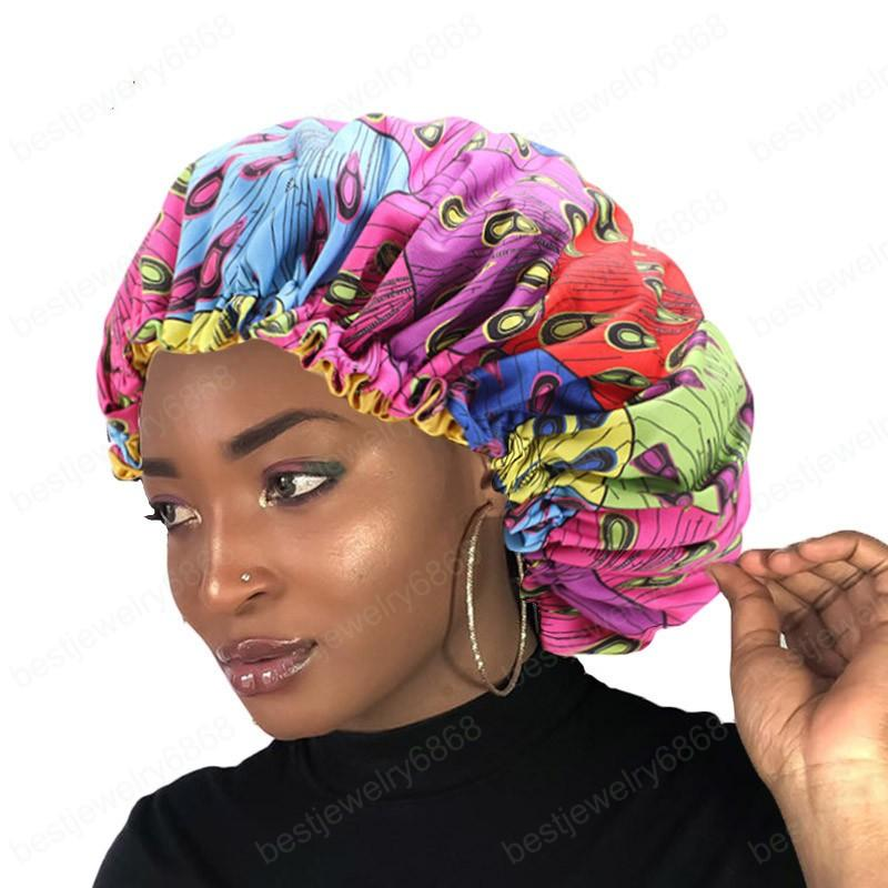 New Women Extra Large Sleep Cap African fabric Ankara hair bonnet Satin Lined sleep cap Night Sleep Hat Ladies Turban Headwear