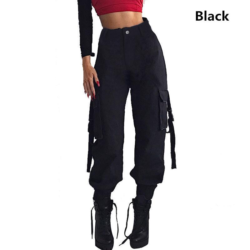 Calça preta de cintura alta carga Mulheres Pockets Calças do teste padrão dos retalhos solto Streetwear Calças Lápis Moda Hip Hop Mulheres