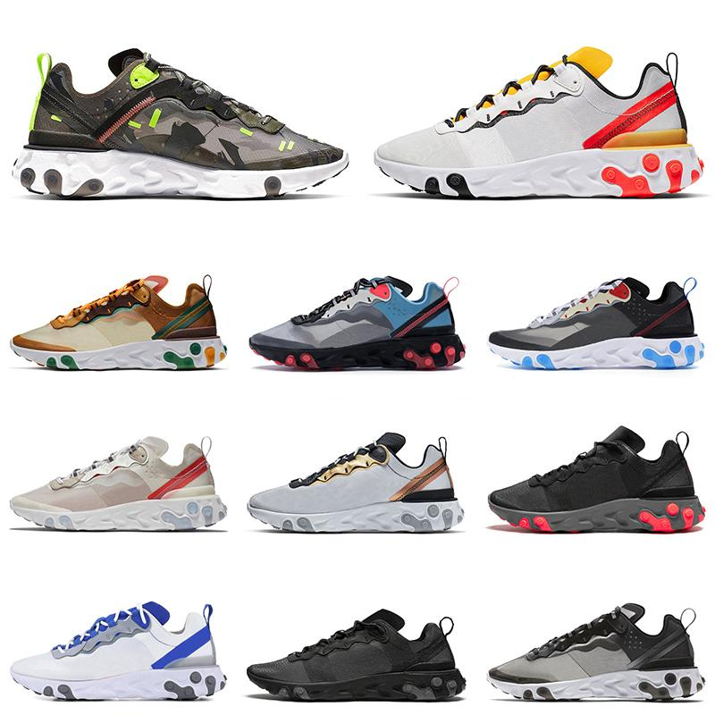 Discount Reagir Elemento 87 55 Mens Trainers Running Shoes Luz óssea Triplo Preto Homens Mulheres Sports Sneaker Size 5,5-11