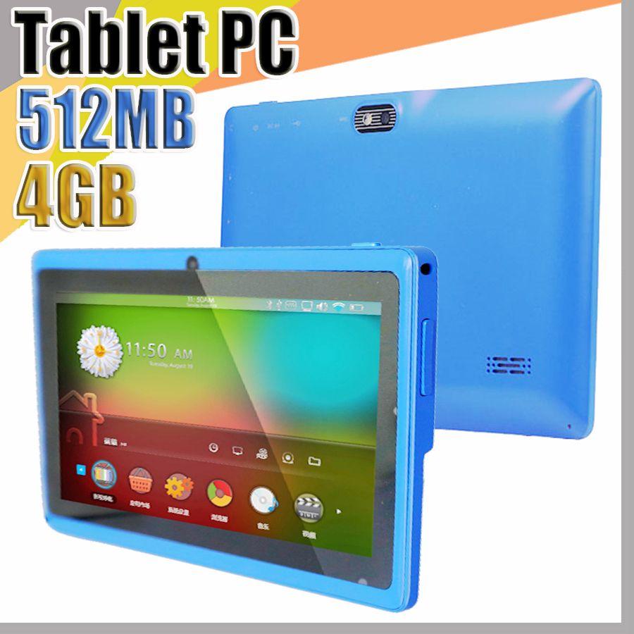 """838 Allwinner A33 Quad Core Q88 Tablet PC doppia fotocamera da 7"""" schermo capacitivo da 7 pollici Android 4.4 512MB 4GB WIFI Google Play Store Flash E-7PB"""