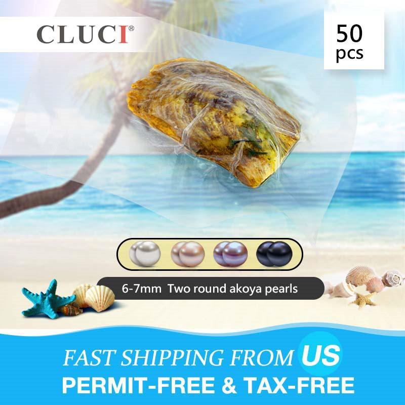 CLUCI 50pcs 6-7mm Round Akoya in Oyster Grade Love Wish Twins Bead Vacuum Packed Oysters with Natural Pearl T200507