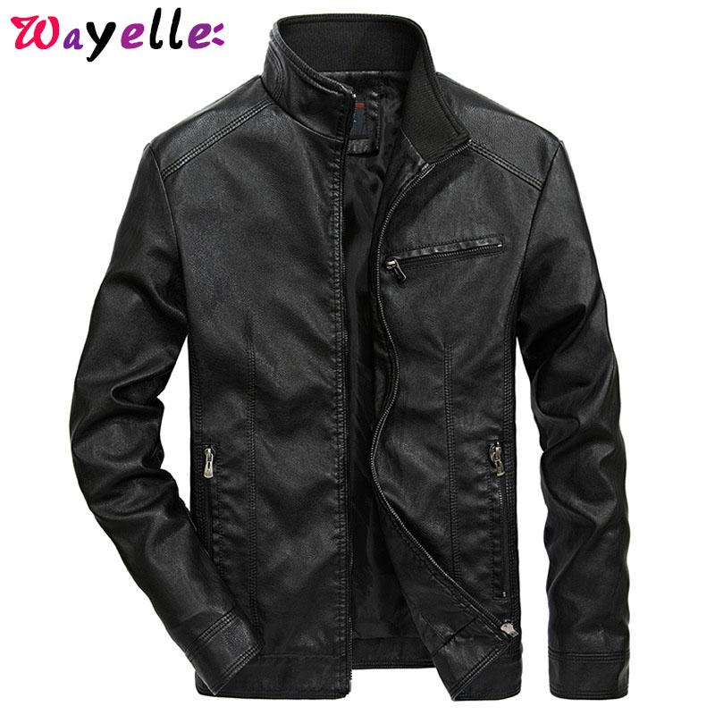 2019 Fashion Men's Leather Stand Collar Jackets Coat Fashion Male Leather Jacket Casual Slim Fit Zipper Clothing Coats