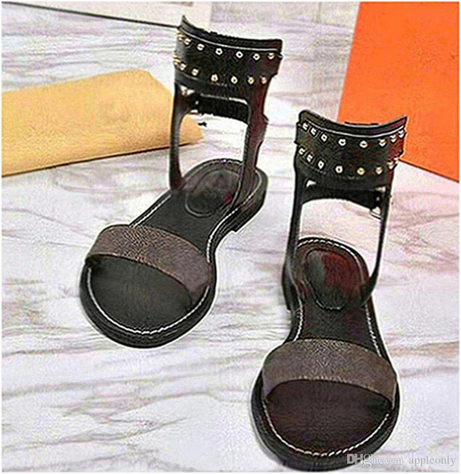 Summer Casual Slides Shoes for Girls Breathable Sliders Flip Flops Genuine Leather Party Dress Open Toe Size 35-40 with Box Mom H87