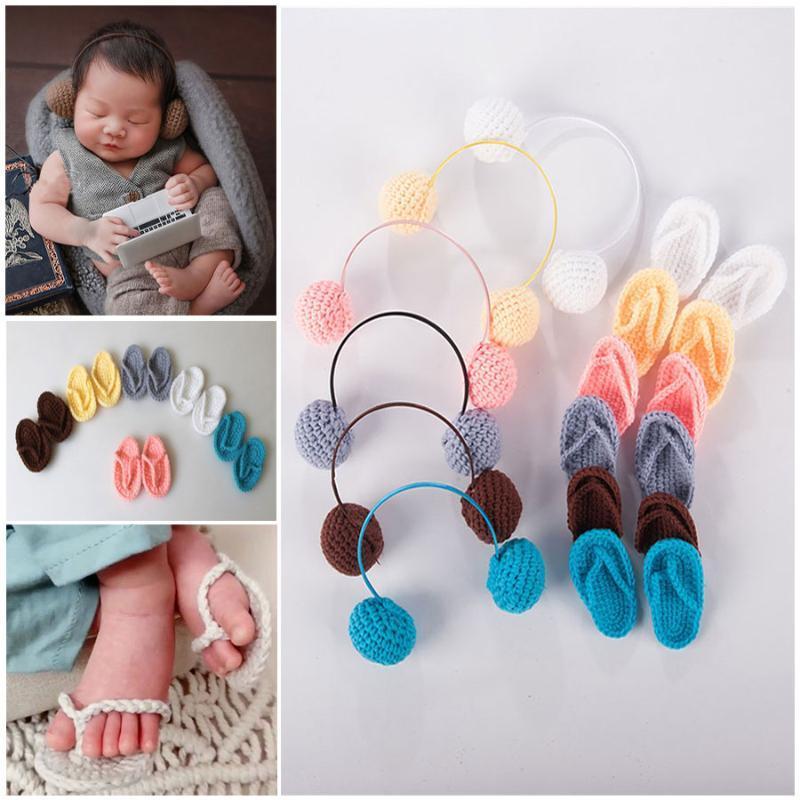 Recém-nascido Fotografia Props Baby Girl Boy Photo Shoot Handmade Shoes infantil Costume foto do bebê Crochet Malha Headphone Props