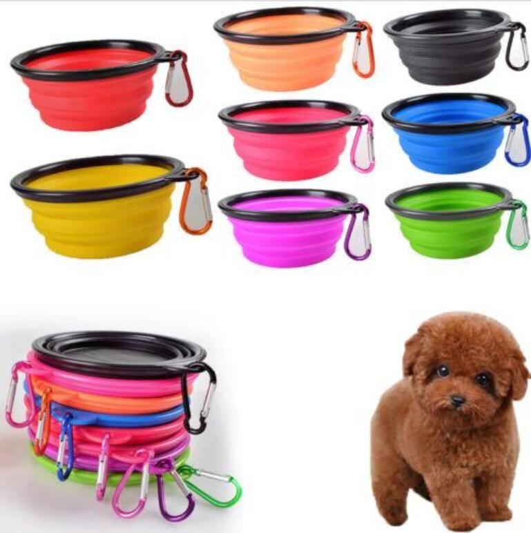 휴대용 개밥 Collapsible Silicone 애완 동물 고양이 개 음식 급식 여행 그릇 강아지 강아지 공급기 Carabiner와 음식 용기
