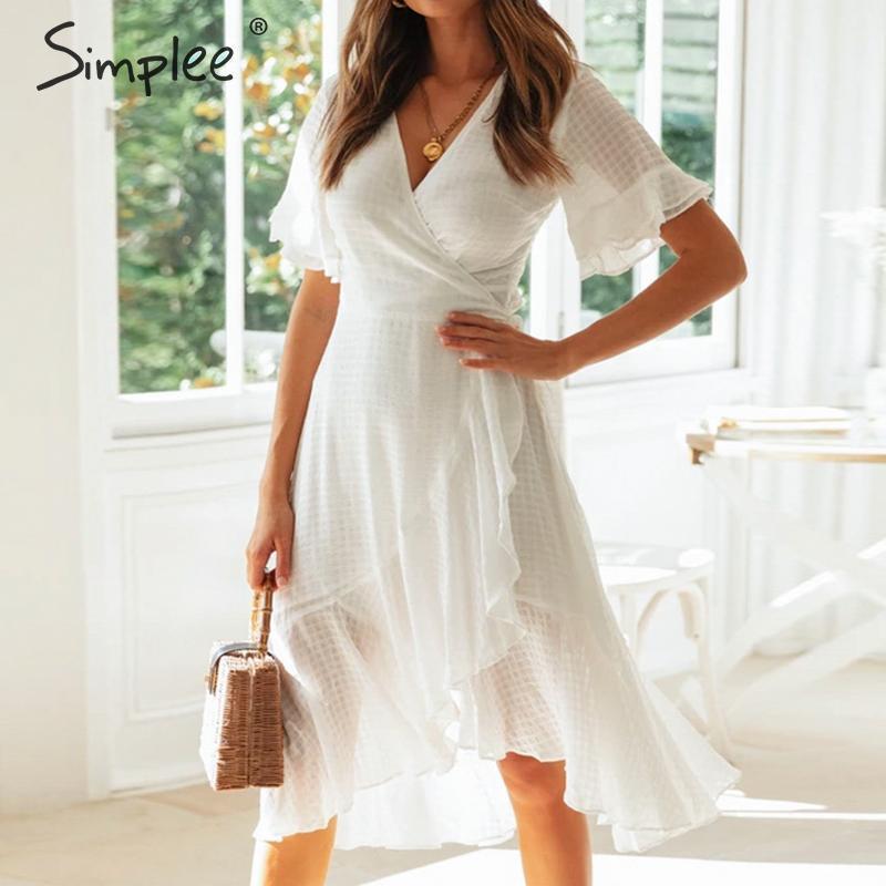 Simplee элегантный раффлед женщины wrap dress V шеи плед a-line женский midi платья праздник пляж стиль дамы белый vestidos 2019
