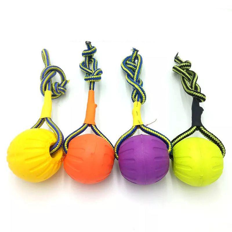 dents indestructibles jouets morsure chew boule de formation drôle chiot en caoutchouc jouer aller chercher solide avec animal de compagnie chien corde porteuse