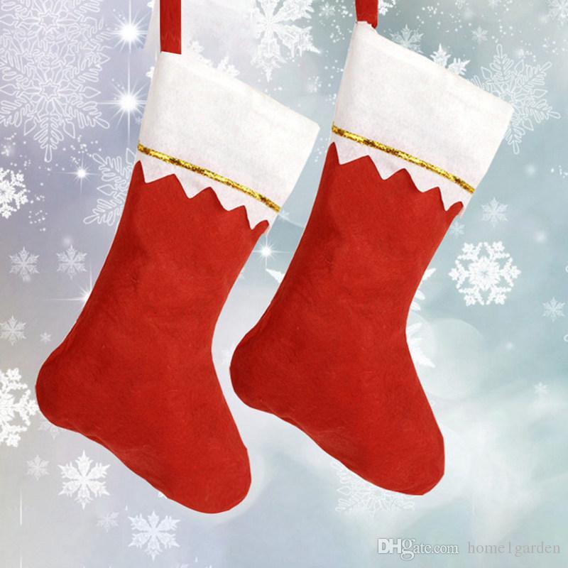 빨간색 플러시 아닌 짠 양말 선물 가방 크리스마스 트리 펜 던 트 장식 홈 장식 호텔