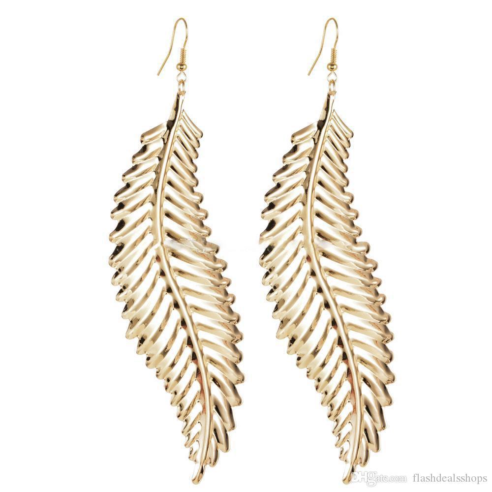 Hip Hop Women Big Leaf Drop Earring Metal Alloy Girls Gold Feather long Drop Earrings Party Nightclub Jewelry