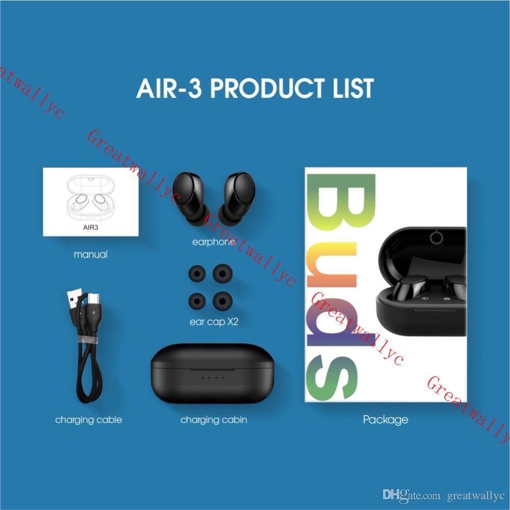 Estéreo brotes aire 3 Mini Bluetooth Auricular gemelos Auriculares Wireless Economía Deportes Música Calling auriculares con la carga de la caja
