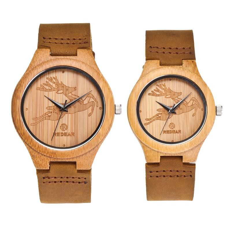 Simple Fashion 45MM Dial Bamboo Wood Couple Ladies Watch Leather Strap Men's and Women's Quartz Wooden Watch relojes para mujer