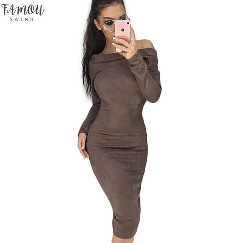 Weibliche lange Hülse Mantel figurbetontes Kleid Sexy Slash-Ansatz-Winter-Herbst-Frauen Midi-Kleid Femme Partei Suede Kleider plus Größe GV116
