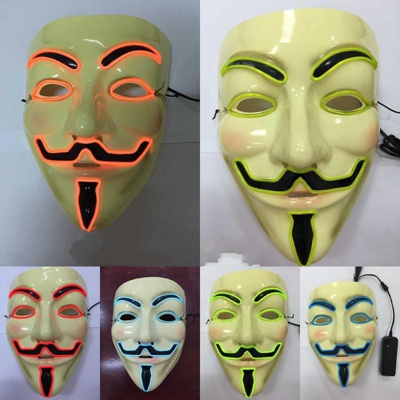 Terror Ghost Street Dance Party Maschera di Halloween V Shape Led Maschere per il viso Uomo adulto Vendita calda