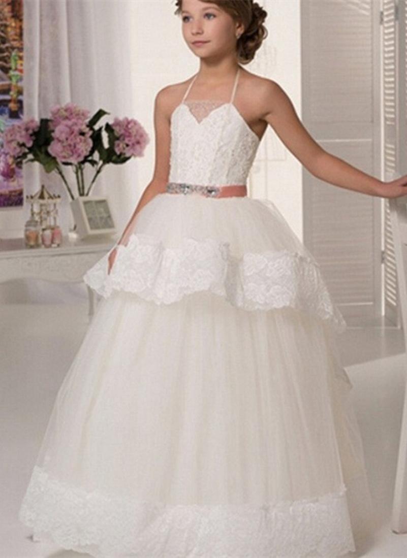 Vestidos de niña de las flores Apliques de encaje sin mangas para bodas Halter con cuentas Faja Hasta el suelo para niñas Vestidos de primera comunión