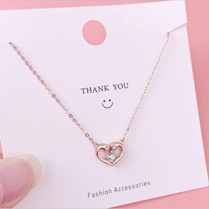 Forma cuore di amore di Swan CZ Collana catena di cristallo argento 925 gioielleria clavicola collane dolce Rose Gold Colore Girocollo