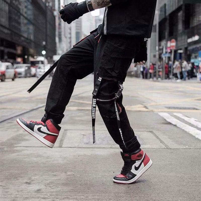 ceintures de jogging poches de rue pour hommes salopettes pour hommes pantalons de survêtement hip-hop coréen salopette de mode