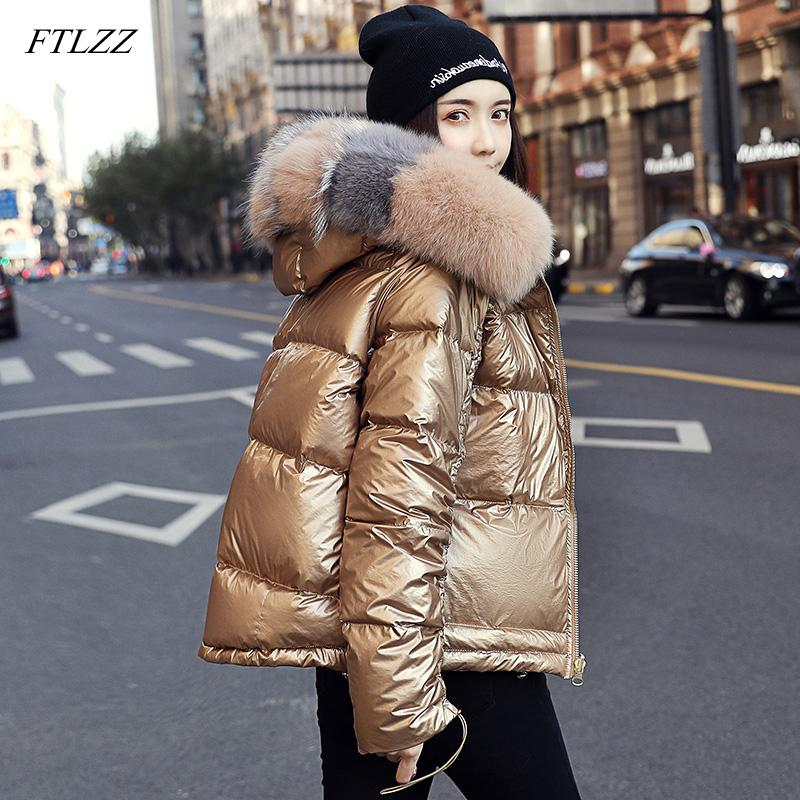 FTLZZ 2019 Veste d'hiver Femmes blanc duvet de canard Veste Big aritificial fourrure imperméable Outwear casaque épais chaud vers le bas Parka T191026