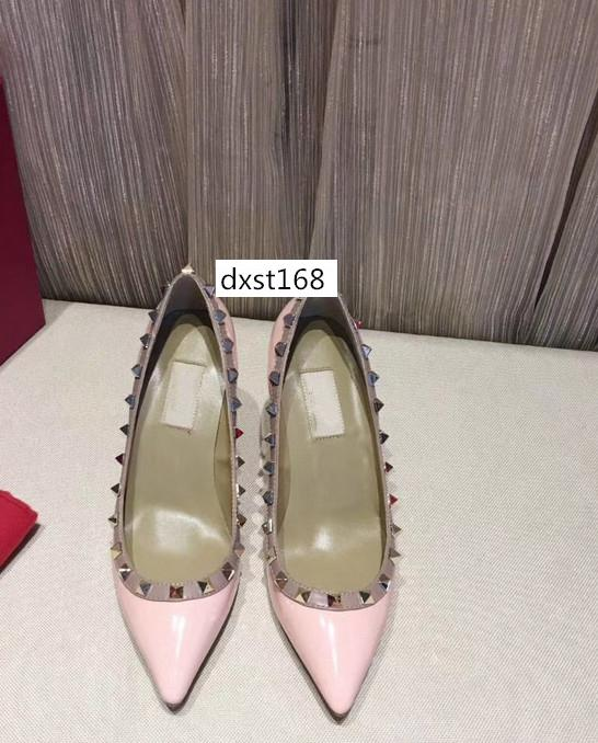 Tasarımcı sivri Çıtçıt yüksek topuklu Perçinler sandalet kadın ayakkabı Sevgililer yüksek topuk ayakkabı orijinal kutusu