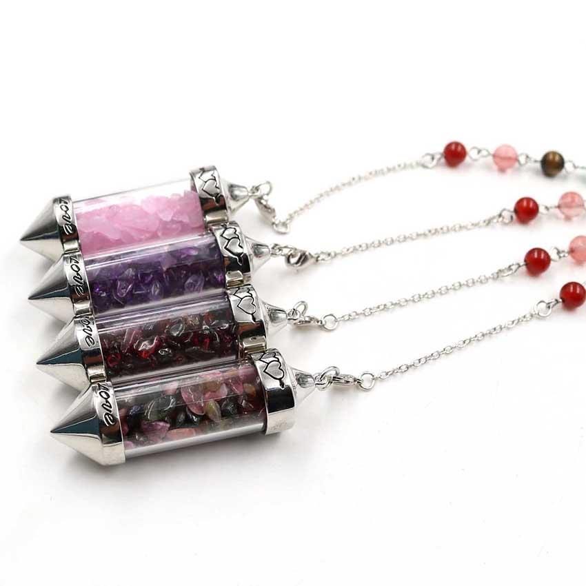 10 piezas de los Deseos Botella de cuarzo rosa colgante de plata del cristal de roca plateado con bolas de piedra Cadena cura Chakra Jewelr
