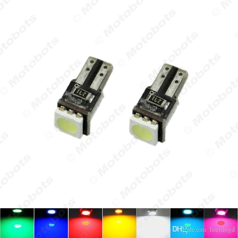 도매 50PCS 화이트 T5 5050 1SMD CANBUS 없음 오류 자동차 인테리어 웨지 자료 LED 전구 DC12V SKU : # 1819