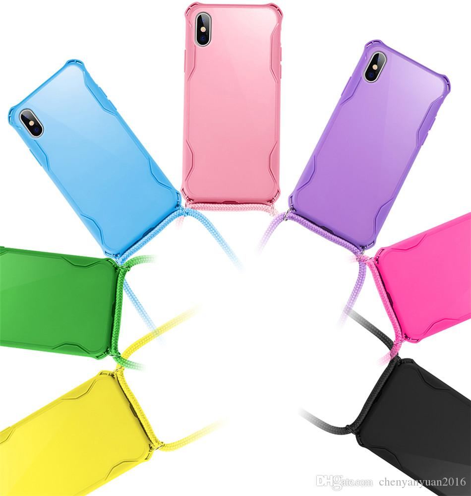 Necklace Candy Color Phone Case For iPhone 11 7 8 Plus X XR XS 11Pro Max Airbag Soft TPU Back Shell For Carry