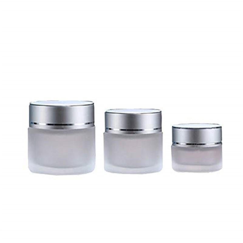 20g en verre givré cosmétiques pot vide Crème Visage Baume Lèvres Conteneur remplissable Bouteille d'échantillon avec Couvercles argent 20ml YTH1636-20