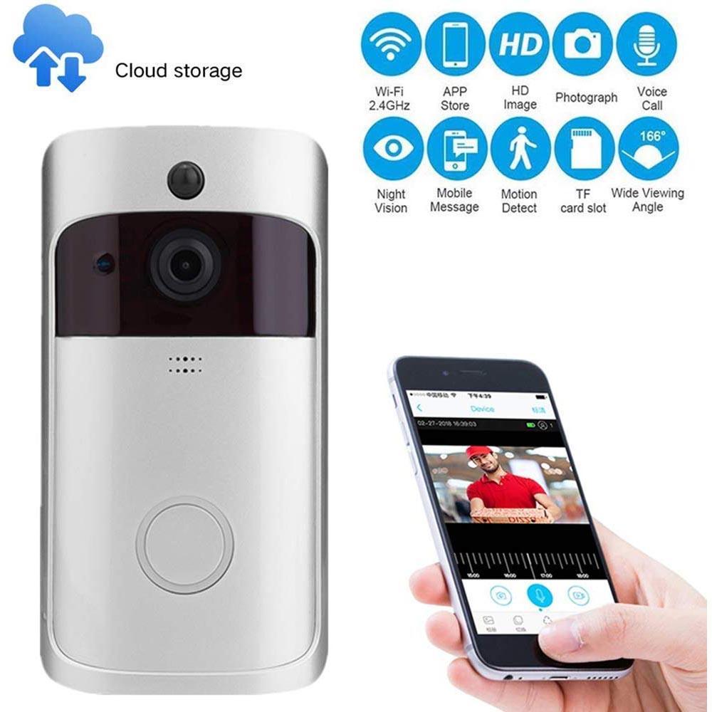 WiFi Video Klingel-Kamera-HD 720P drahtloses Haus Smart Security Cam mit Dwith Zweiweggespräch Video, PIR-Bewegungsmelder, Nachtsicht VB02