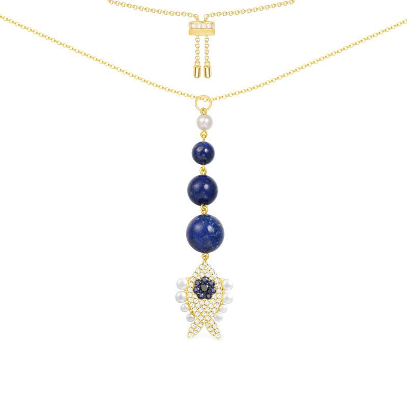 SLJELY  925 Sterling Silver Yellow Gold Color Lucky Eye Navy Blue Stones Fish Necklace Adjust Chain Women Monaco Jewelry