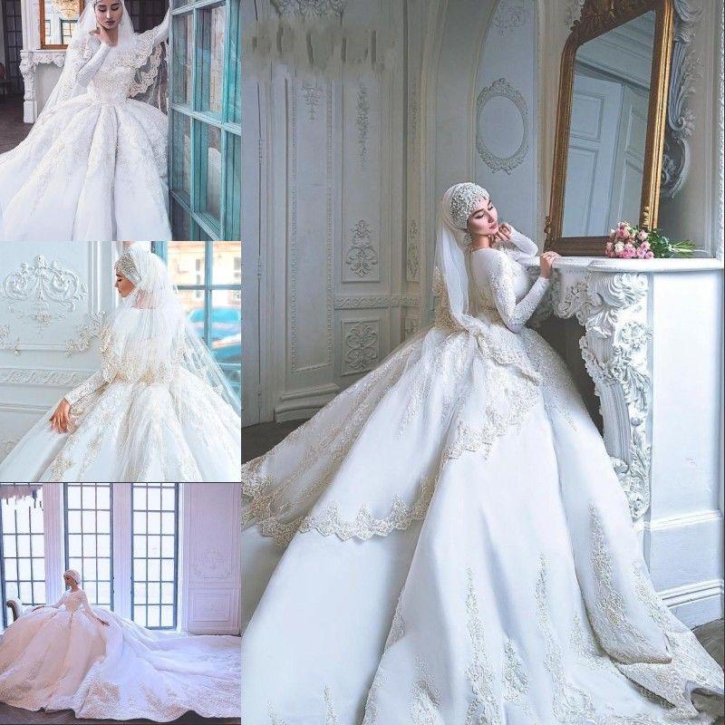 Luxurious Muslim Wedding Dresses Long Sleeve Lace Pure White Bridal Gowns Dubai Saudi Arabia Jewel Neck Vestido De Noiva Custom Plus Size