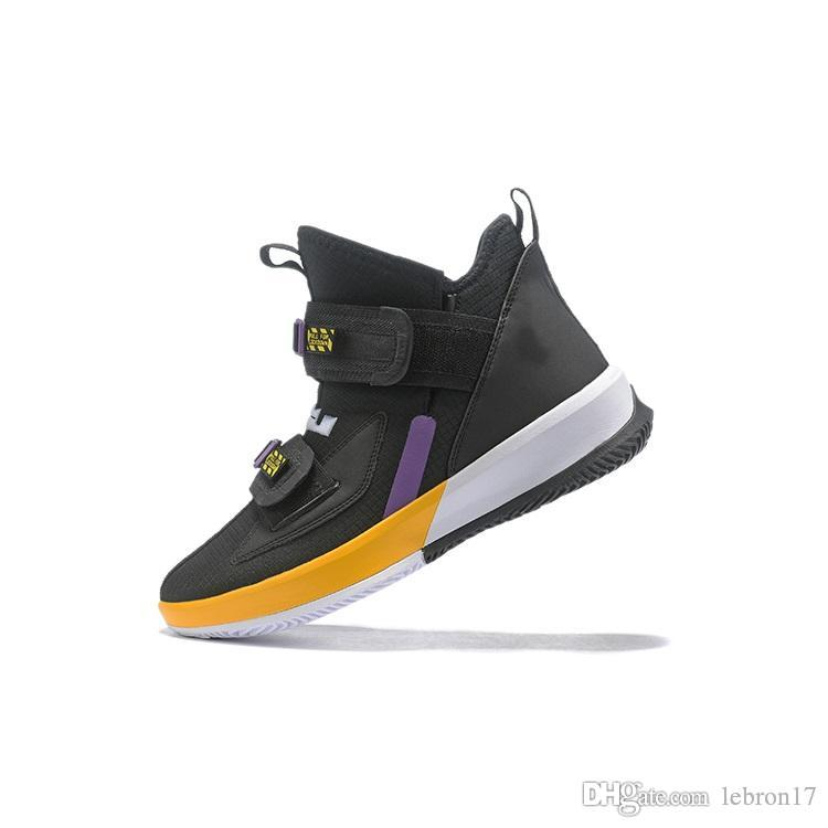 Mens lebron 17 basketball shoes high cut Black Yellow White Yellow Green youth kids new lebrons soldier 13 sneakers boots with box size 7 12