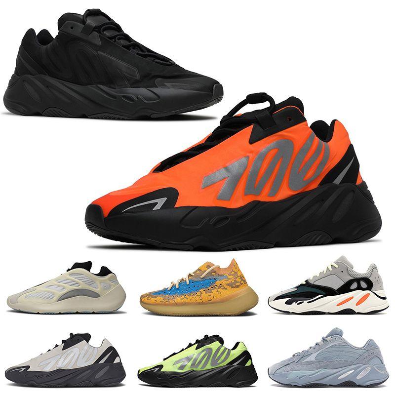 2020 Kanye west stock x boost 700 أعلى جودة رجل إمرأة الاحذية البرتقال الثلاثي الأسود الفوسفور العظام الأبيض رجل المدربين مصمم أحذية رياضية
