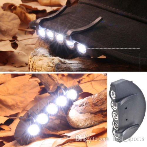 5 LED سوبر برايت مشاعل ضوء كاب العلوي كشافات رئيس المصباح غطاء الرأس الخفيفة كليب على ضوء مصباح رئيس الصيد CCA11472 100pcs التي