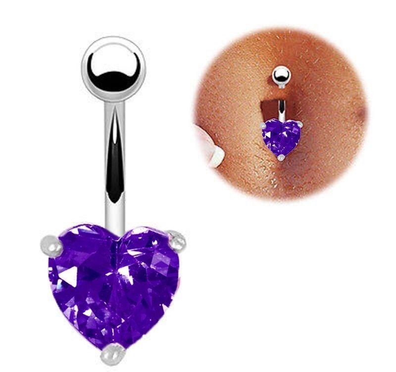 Cute Peach Heart Zircon Crystal Body Jewelry Stainless Steel Rhinestone Navel & Bell Button Piercing Rings for Women Gift