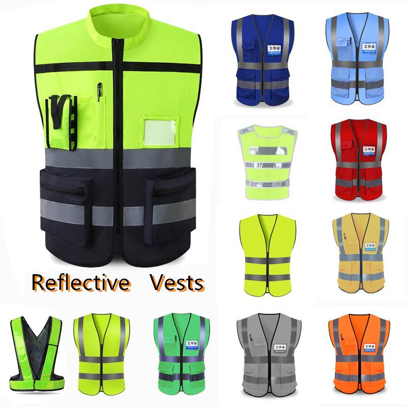Unisex Yüksek Görünürlük Reflektif Yelek Trafik Uyarı Yelek İnşaat Koru Giyim Sanitasyon Programı Workwea
