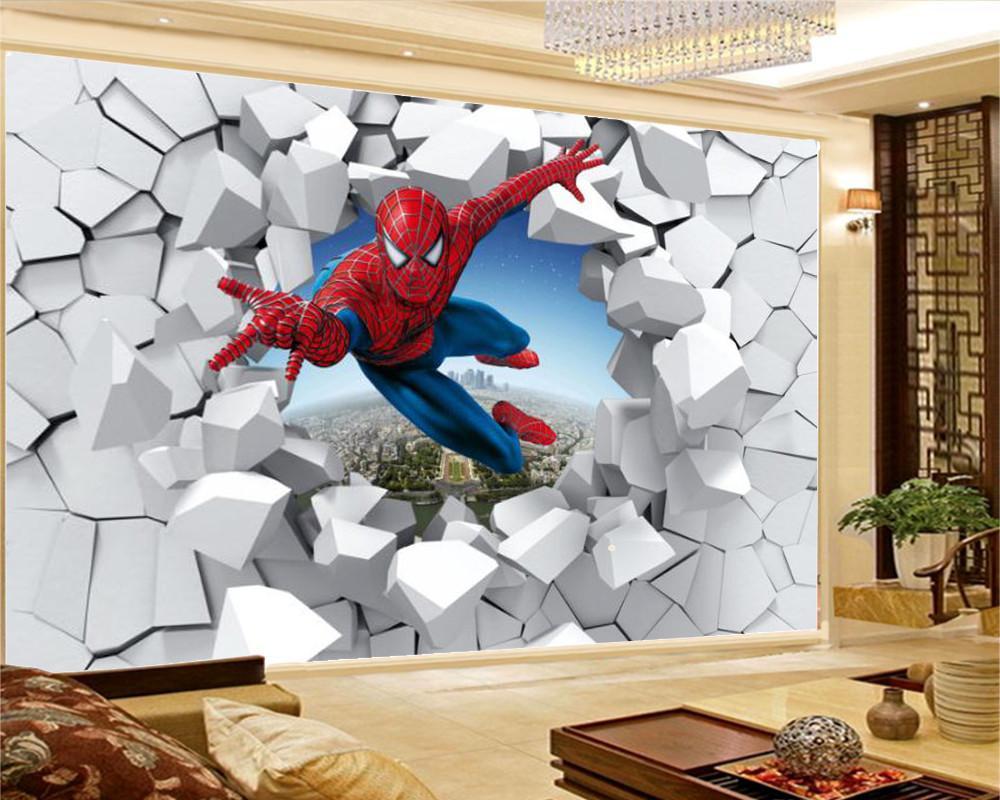 3d Modern Character Wallpaper Aranha Character Sala Quarto DH papel de parede 3D para Paredes