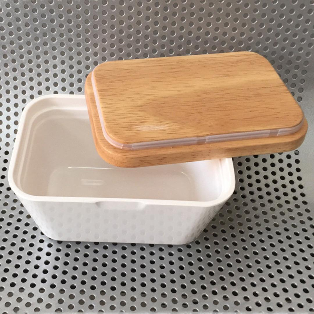 250мл / 500L Butter Box Меламин Блюдо с крышкой Держатель Вуд обслуживающую Контейнер для хранения древесины Меламин сервировки Box Hotel Kitchen Tools T200524
