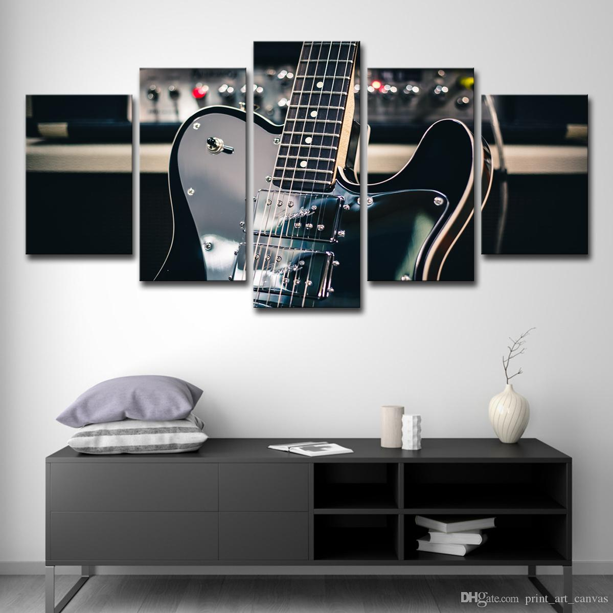 Home Decoration Wall Art Pictures Posters 5 Panel Black Guitar Musical Instrument Living Room HD Printed Modern Painting
