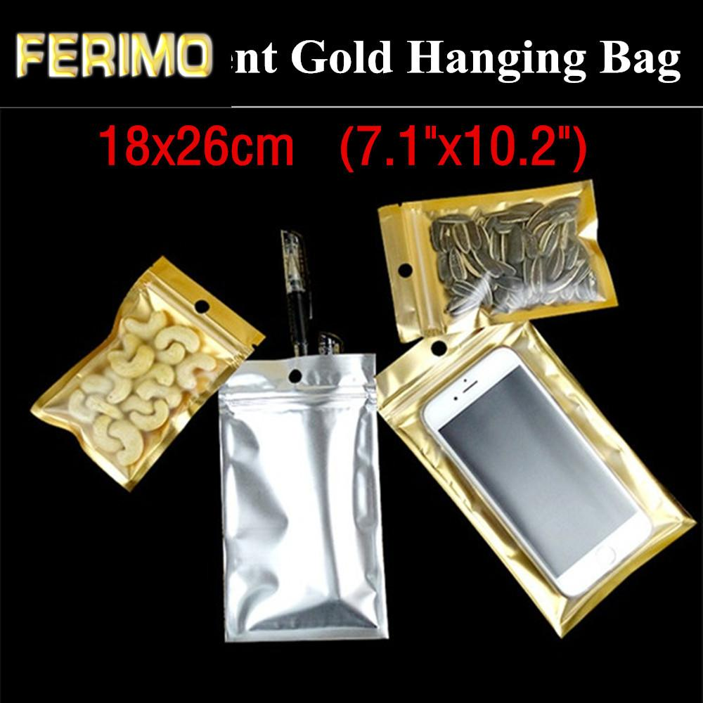 "50pcs 18x26cm (7.1""x10.2"") Flat Translucent Gold Packaging Bag Electronic Cigarettes Hanging Bag Christmas Gift Storage Bag"