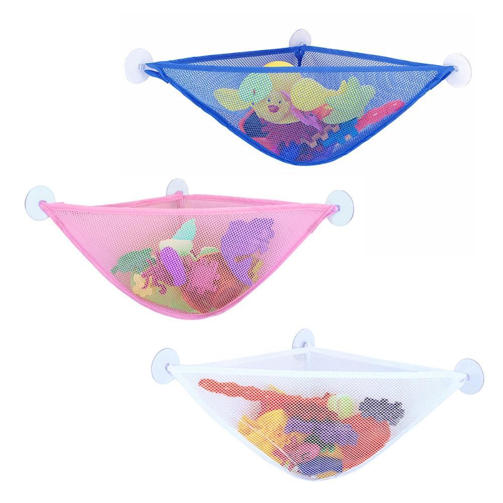 Suction Cup Baby Bath Toys Tidy Storage Mesh Bag Bathroom Folding Wall Hanging Net Organizer Basket Bath Tub Toy Holder