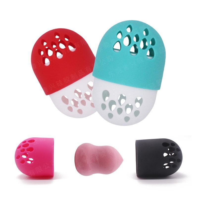 Maquillaje de silicona portaesponja Cápsula Forma Secado Beauty Box huevo almacenamiento soplo cosmético estante de exhibición transpirable