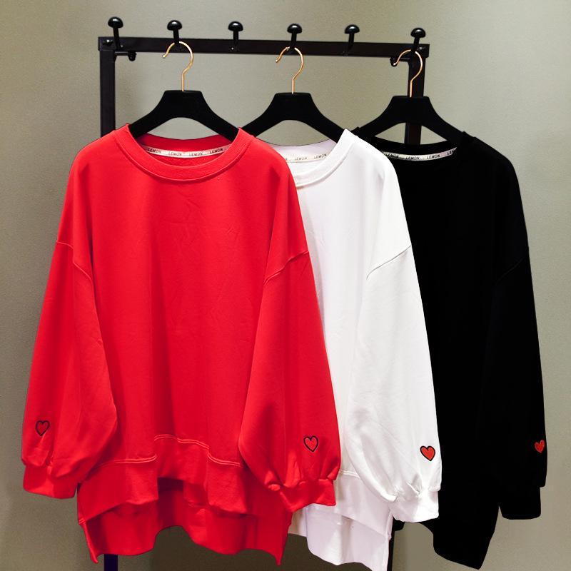Вышивка Love Kawaii Женщины Свободные Свободные Длинные Толстовки Корейские Толстовки Симпатичные Пуловеры Зима Весна Осень Халат Harajuku