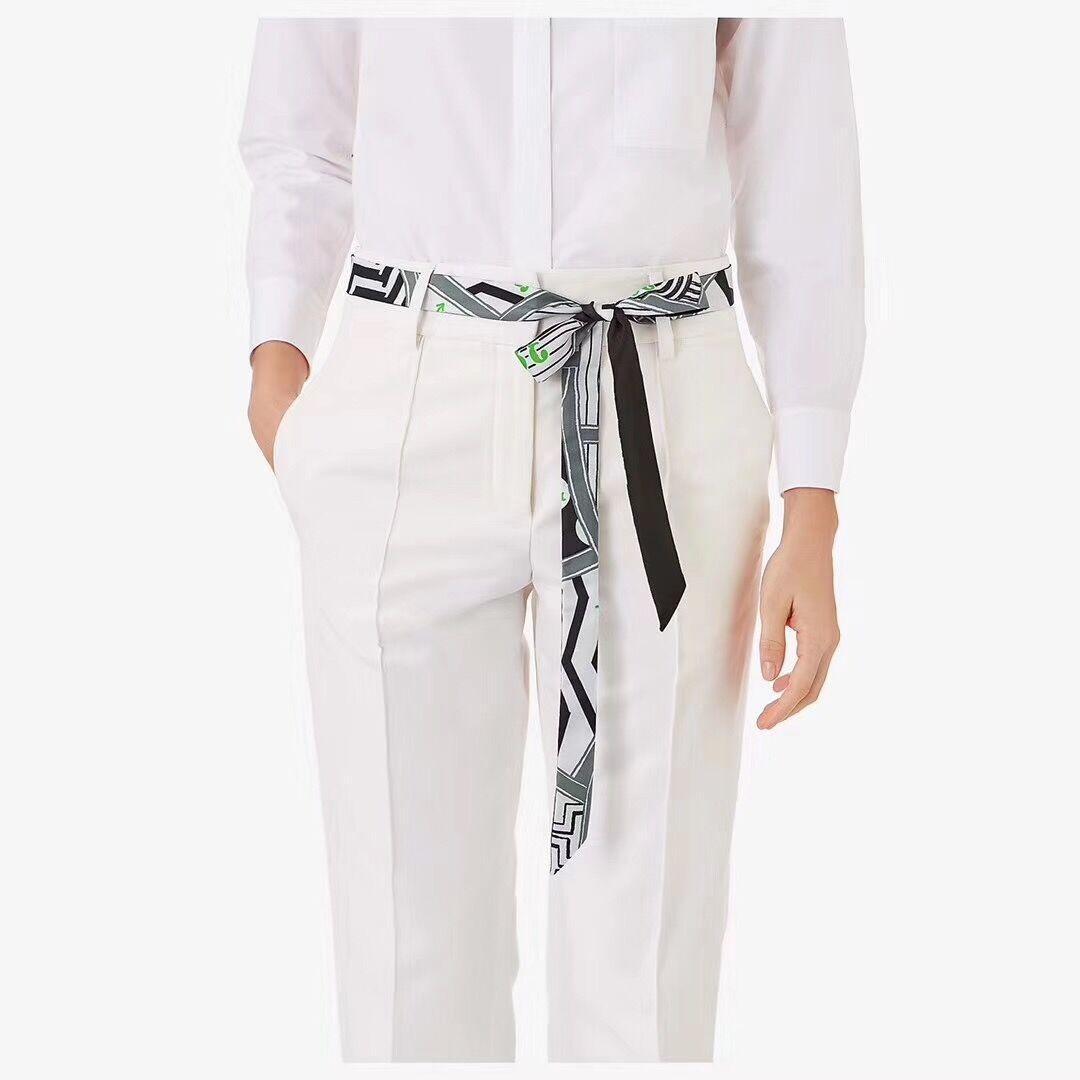 2pcs Korean version of the narrow hand-lengthening gray geometric striped wave silk scarf tied bag floating towel ribbon belt Twill scarf