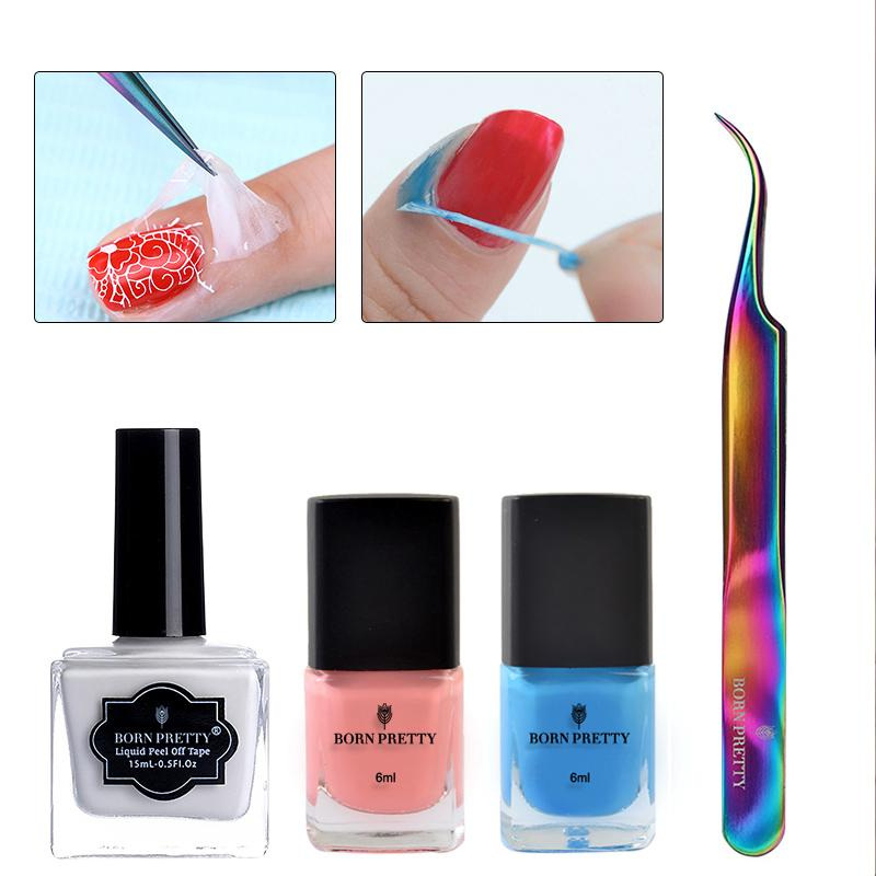 BORN PRETTY Peel Off Nail Latex Liquid Tape with Colorful Curved Tweezer Rainbow Nail Art Tool Set Care Treatment Kit