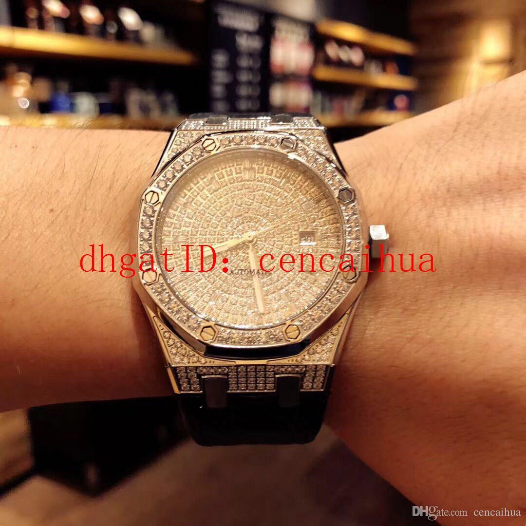 Relógio de diamantes de alta qualidade para homem, movimento mecânico automático original, diâmetro 41mm, caixa de aço revestida de diamante, espelho de vidro de safira,