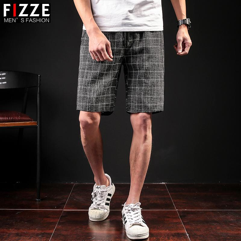 Stripe Shorts Male Thin Section Large Code Small Fresh Repair The Body Trend Leisure Time Full Marks Pants Lattice In Pants
