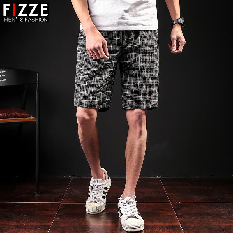 Seção fina listra Shorts Masculino Grande Repair Código pequeno fresco As calças corpo Tendência Leisure Time Full marcas Malha em Calças