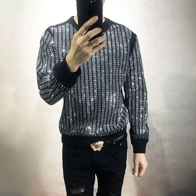 Freeship Herren Strass Perlen schwarzen Sweatshirts mit langen Ärmeln