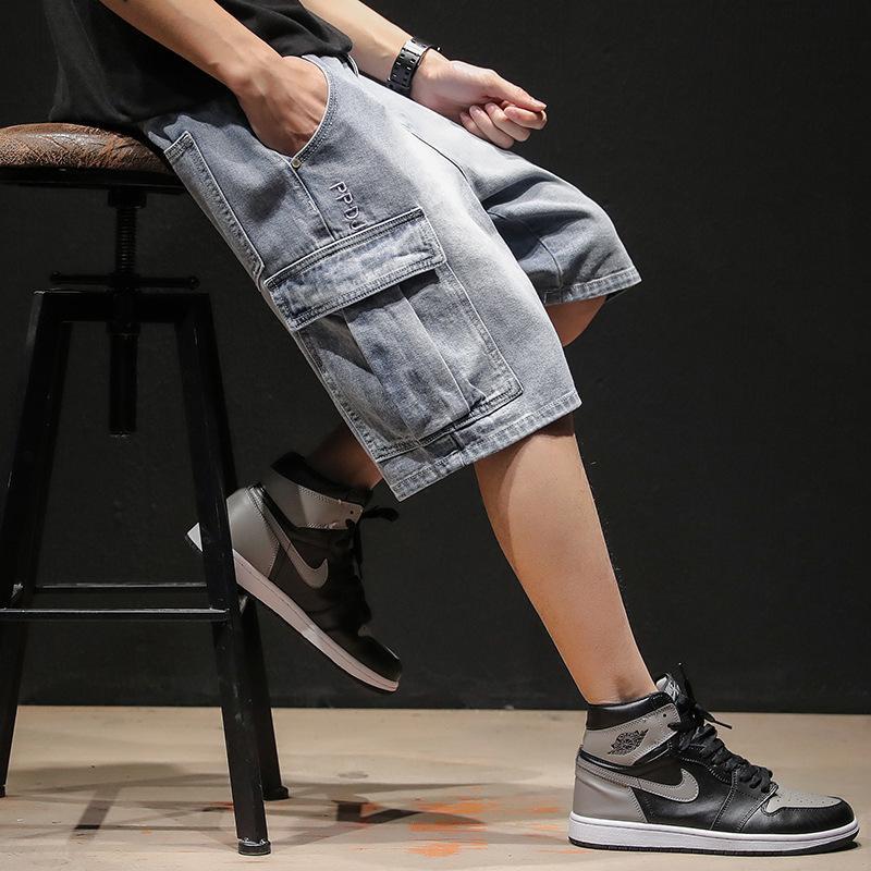 Moda Bolsillos Hombres Jean Pantalones cortos sólido suelto pantalones cortos de mezclilla longitud de la rodilla Casual Jeans Masculino Tamaño más T200522