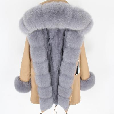 Nova listagem de marca maomaokong pêlo cinza fox aparar Placket forro de pele de coelho cinza longa cáqui mulheres parka
