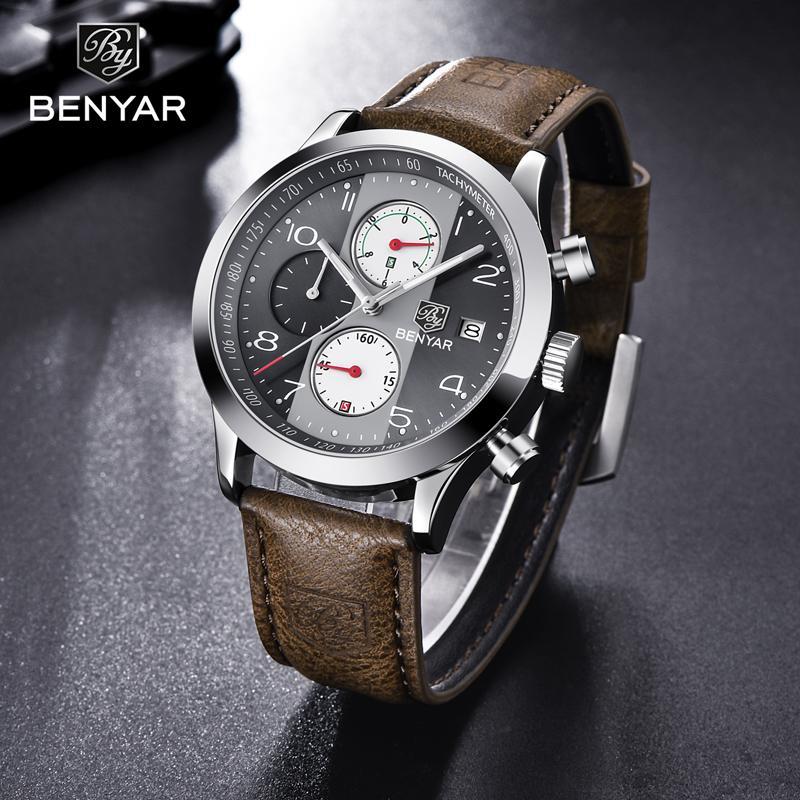 Hombres al por mayor Relojes 2019 de primeras marcas de lujo del reloj de los hombres del reloj de cuarzo / Militar / Relojes cronógrafo de cuero masculino Relojes Montre Homme